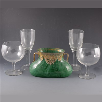 Lot 18-A Nephrite coloured glass two-handled vase, probably central European, ...