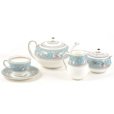 Lot 44-A Wedgwood bone china teaset, Turquoise Florentine.