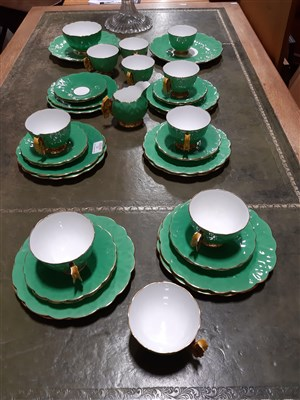 Lot 23-An Aynsley porcelain part teaset, with butterfly handles.