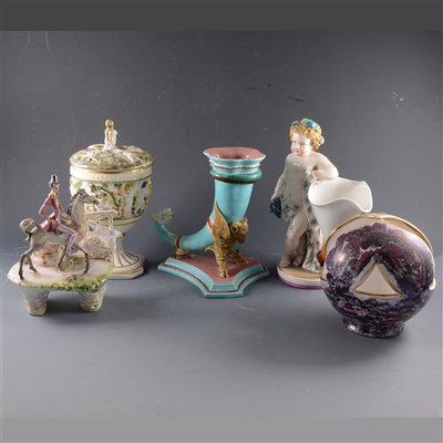 Lot 46-A Capodimonte covered goblet, ...