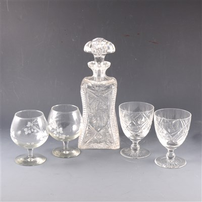 Lot 17-A cut-glass spirit decanter, and other glassware.