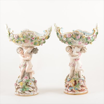 Lot 20-A pair of Dresden porcelain dessert baskets