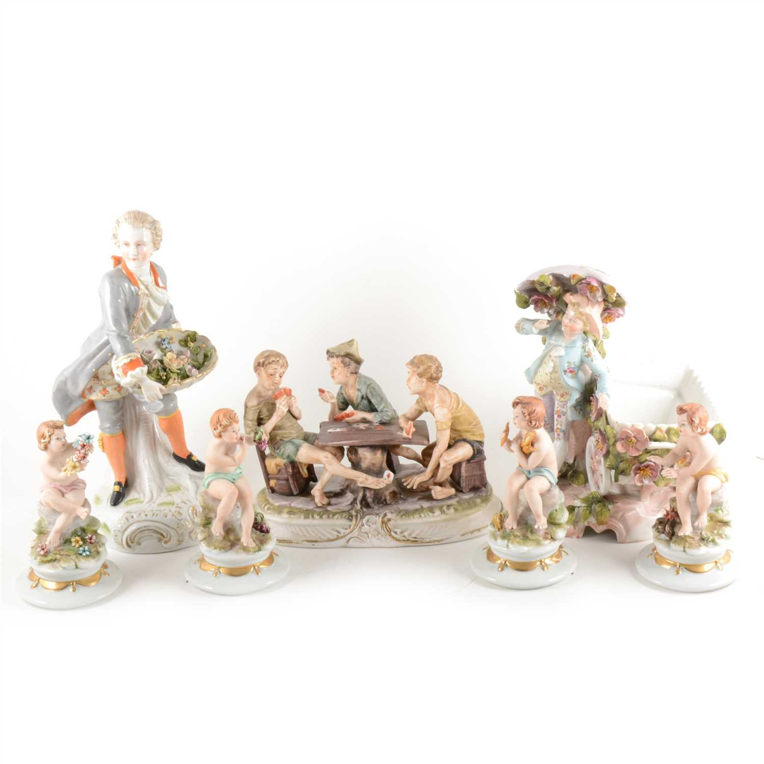 Lot 7-A Continental porcelain group, boys playing cards, ...