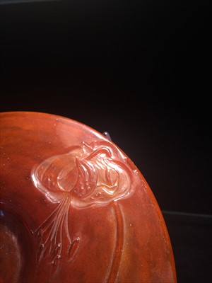 Lot 109-A wheel carved and fire-polished cameo glass vase and stand, by Emile Gallé.