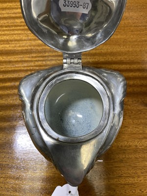 Lot 526-A Jugendstil silvered metal and ceramic inkwell, by Joseph Reinemann, Munich.