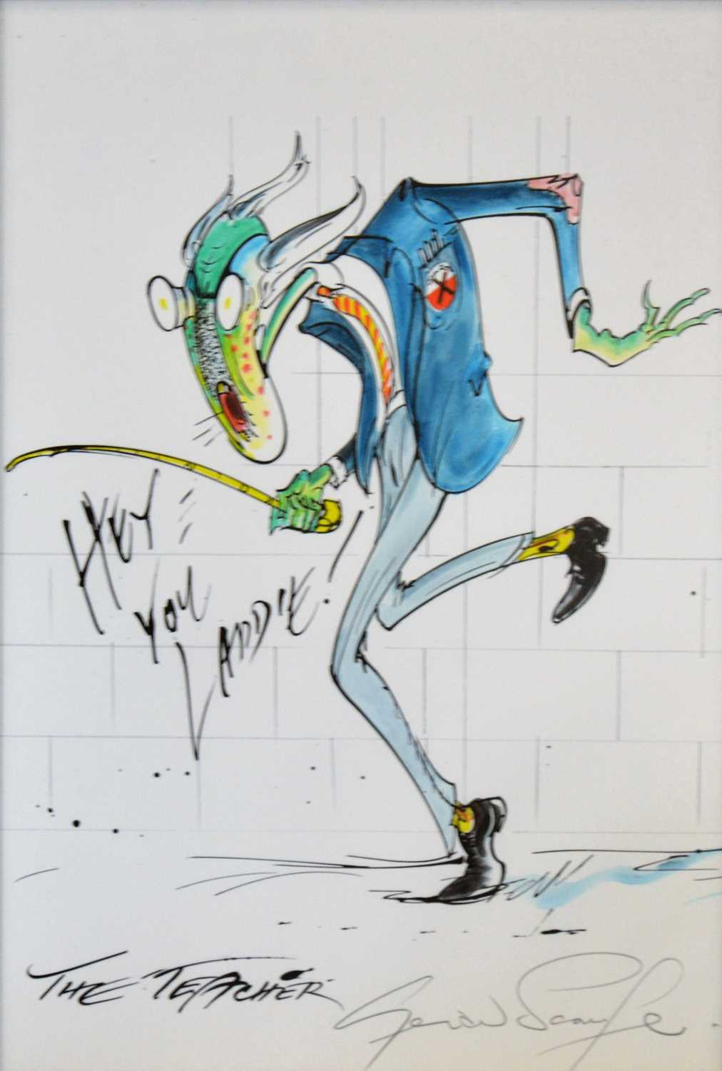 83 - Gerald Scarfe; The Teacher, pencil signed print, art work for Pink Floyd's The Wall, framed and glazed, 37x31.5cm.