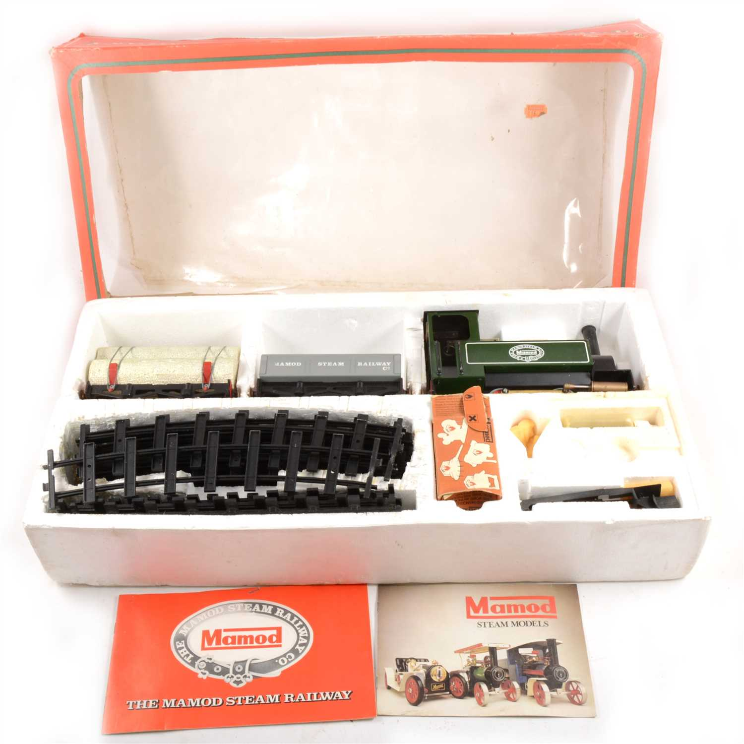 Lot 13-Mamod live steam locomotive RS1 set, boxed with two wagons, track and accessories, boxed.