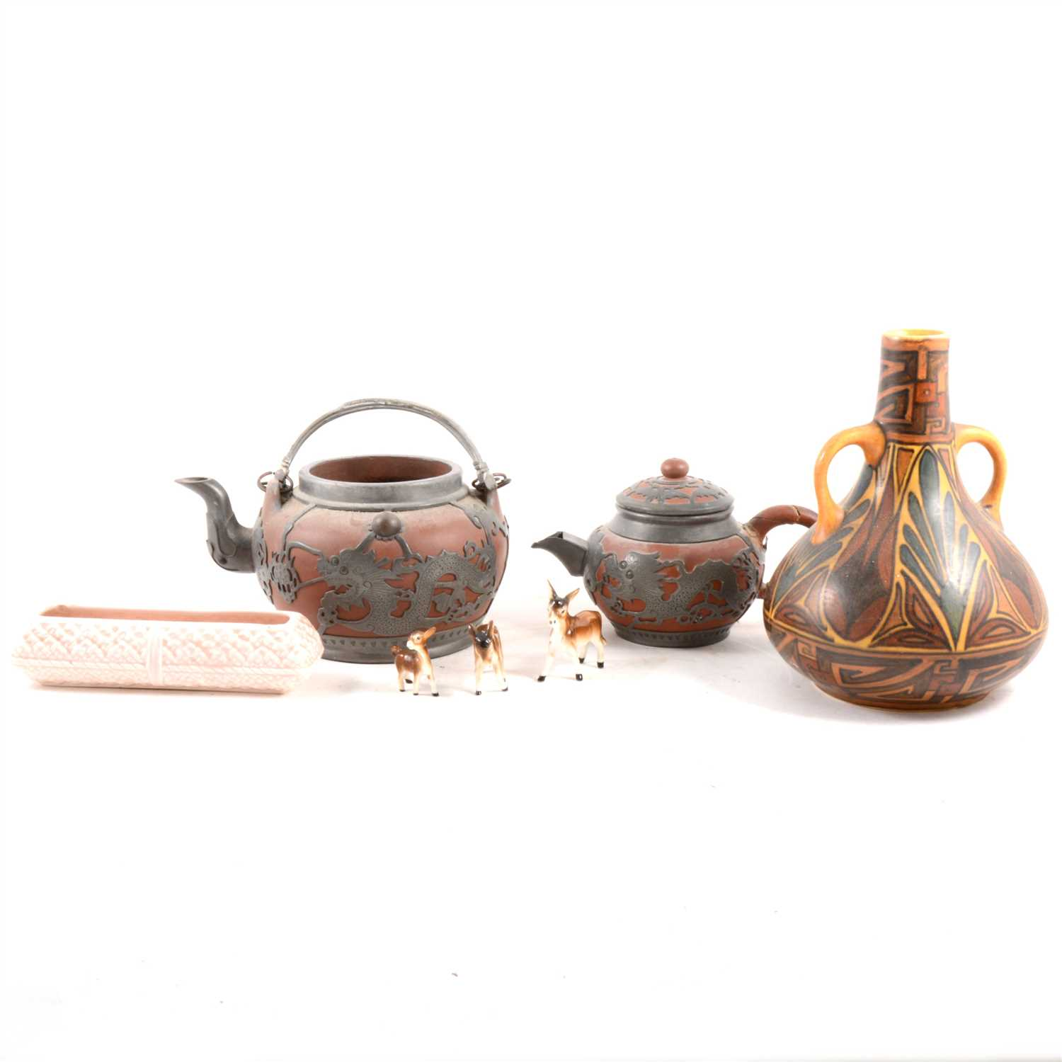 Lot 36-A Shelley part coffee set, three-piece Chinese terracotta base tea set, and other ceramics