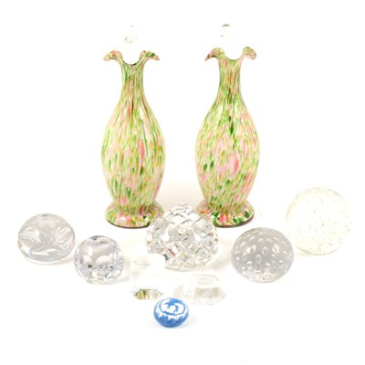 Lot 46-A pair of flecked glass vases with handles, ...