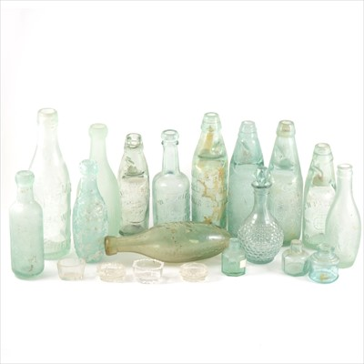 Lot 45-A collection of old green glass cod bottles, other glassware and a stoneware flagon