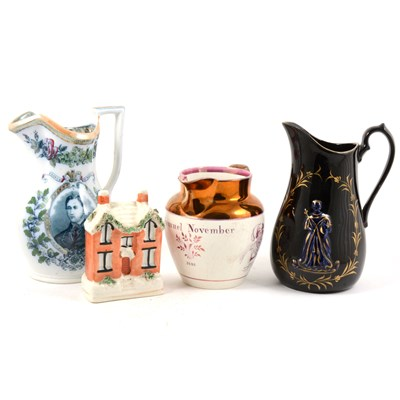 Lot 45A-A Staffordshire jug, 'Long Live Caroline!', ...