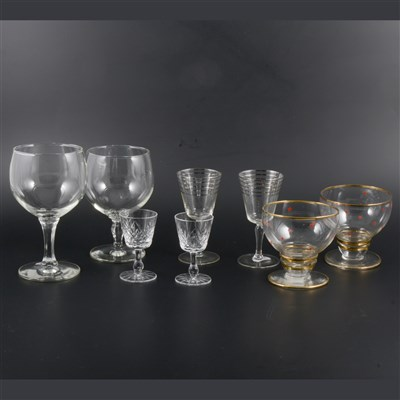 Lot 64-Three boxes of assorted mid-century drinking glasses and glassware