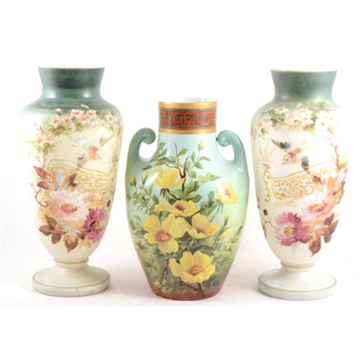 Lot 35-Pair of Victorian enamelled opaque glass vases, and a painted British pottery vase