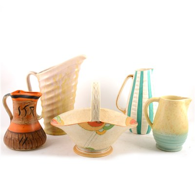Lot 61-Mixed quantity of mid-century retro vases and vessels, and decorative jugs.