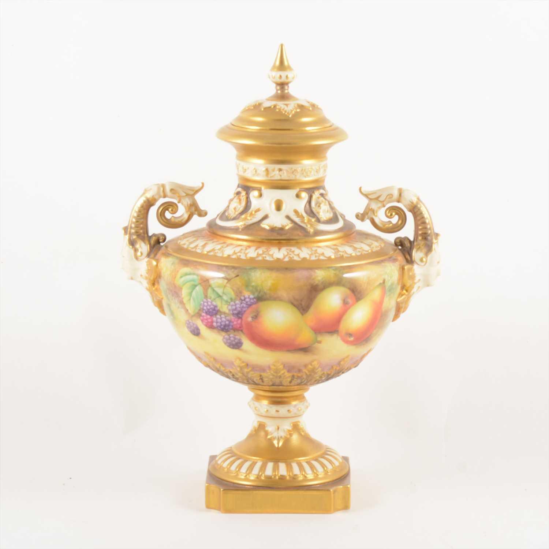 Lot 510-Royal Worcester fruit painted pedestal vase, by John Smith
