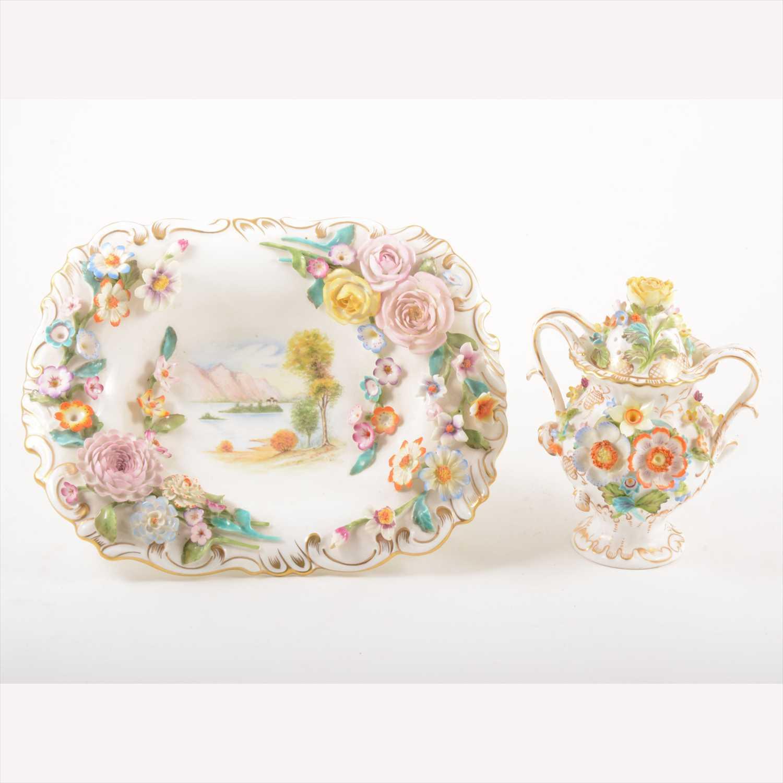 Lot 512-Coalport Coalbrookdale dessert basket, Victorian style; and a twin-handled vase.