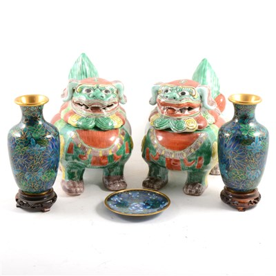 Lot 16-Pair of modern Chinese temple lions, and three pieces of modern cloisonné.