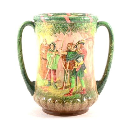 Lot 38-A Royal Doulton twin handled loving cup, Robin Hood, number 26 of 600.