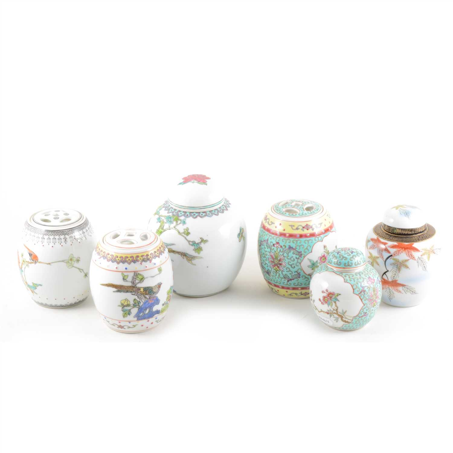 Lot 11-A collection of ginger jars, an Imari plate and another chinoiserie plate.