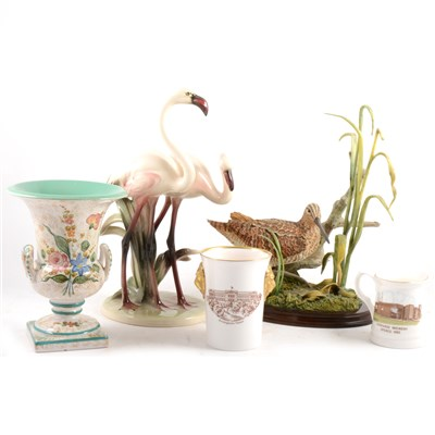 Lot 49-Country Artists 'Snipe in Water with Reeds', Continental pottery group of Flamingos, etc