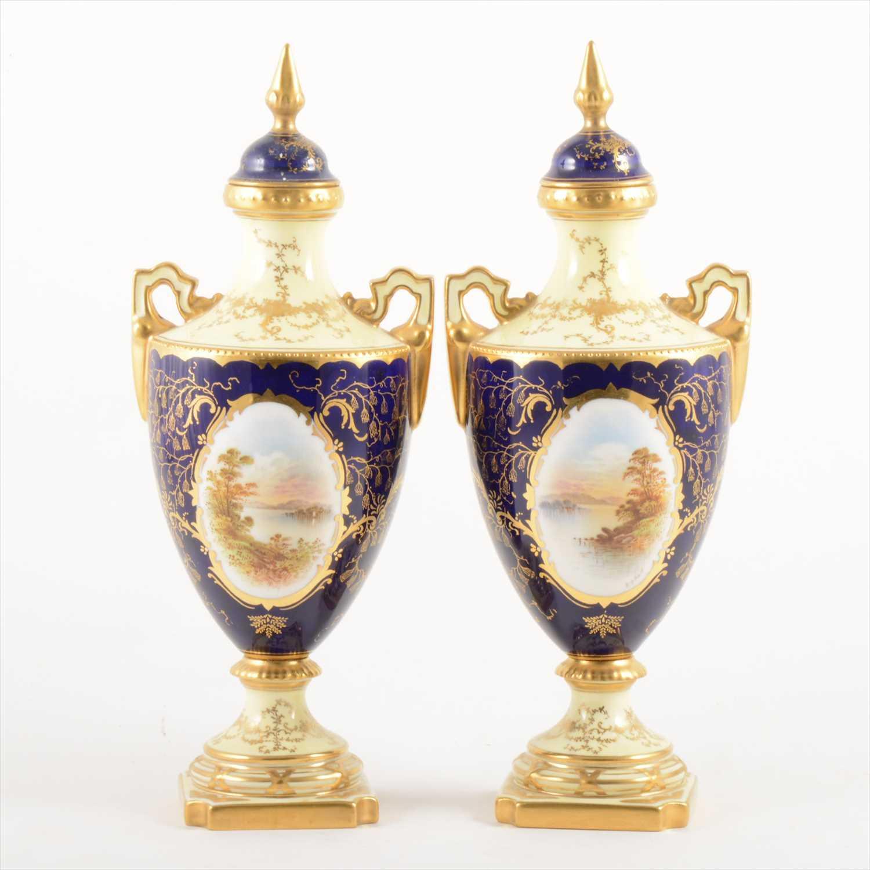 Lot 516-Pair of Coalport amphora shape vases