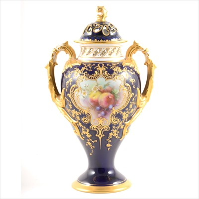 Lot 37-Royal Worcester two-handled pot pourri vase
