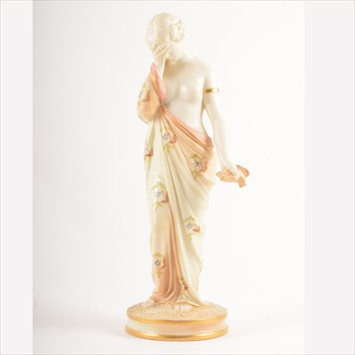 Lot 33-Royal Worcester figure of a maiden in classical dress