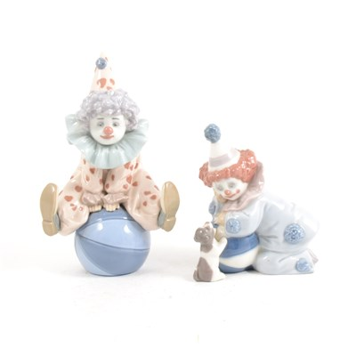 Lot 3-Two Lladro figures of clowns, ...