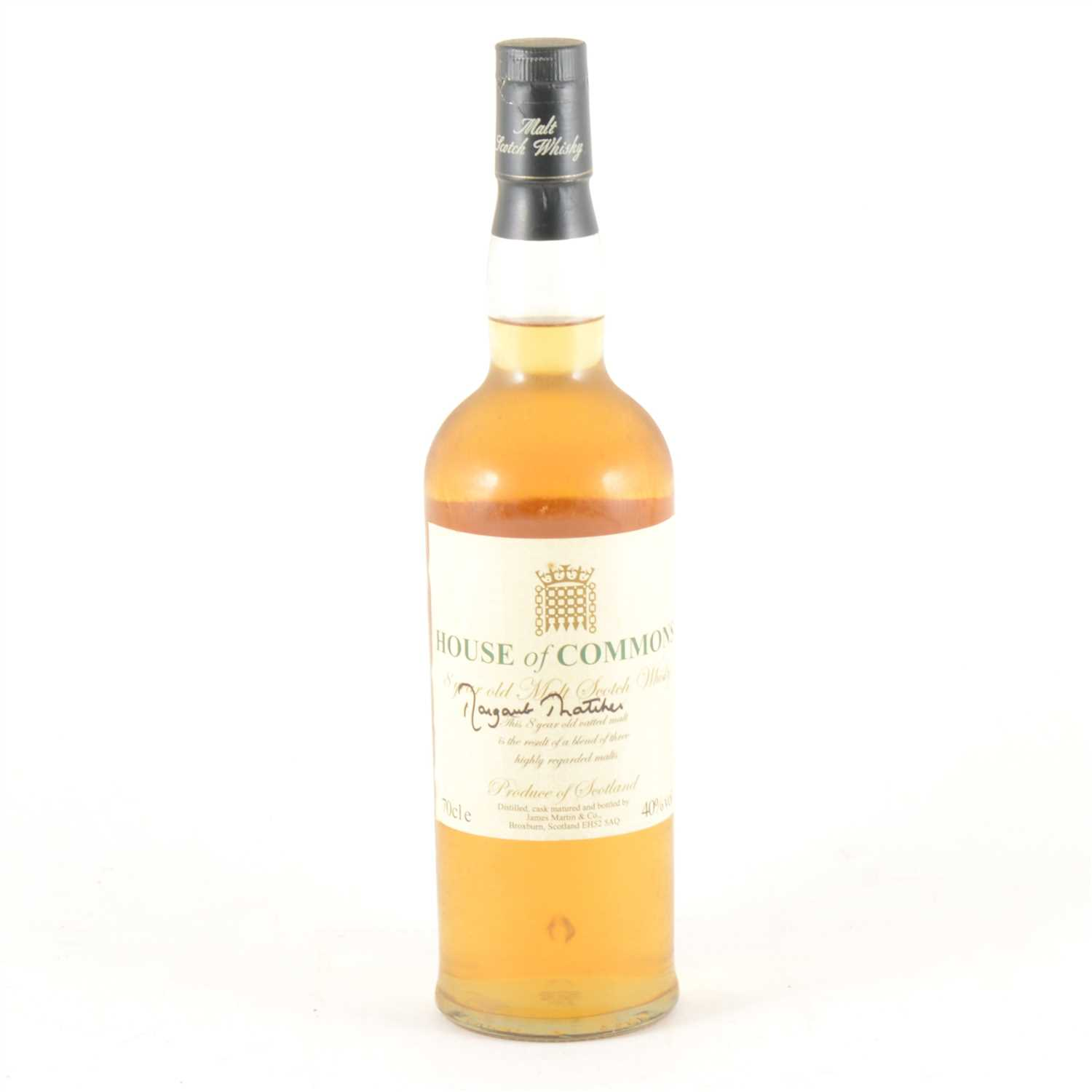 138 - House of Commons 8 Year Old Malt Scotch Whisky 70cl, signed Margaret Thatcher.