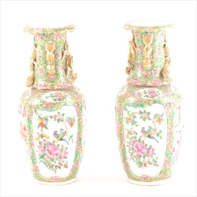 Lot 60-Pair of small Cantonese famille rose vases