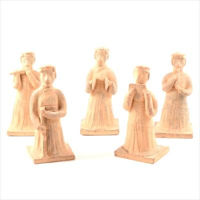 Lot 55-Five contemporary terracotta funerary figures