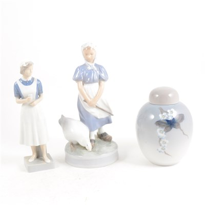 Lot 13-Royal Copenhagen figure of a Girl with a Goose, ...