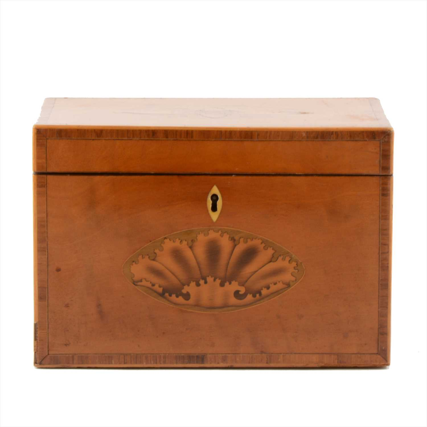 Lot 536-George III satinwood and marquetry tea caddy