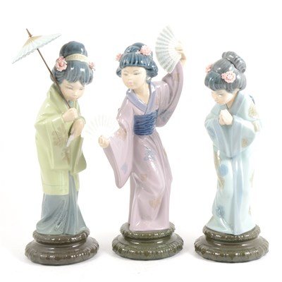 Lot 4-Three Lladro figures of Japanese girls, ...