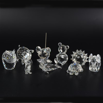 Lot 15-Collection of Swarovski Crystal glass figures, including fish, owls, elephant, mice, etc.