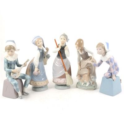 Lot 54-Five Lladro figures, two Harleqins, ...