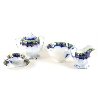 Lot 38-A pair of Royal Derby dessert dishes, and a Victorian ironstone part teaset.