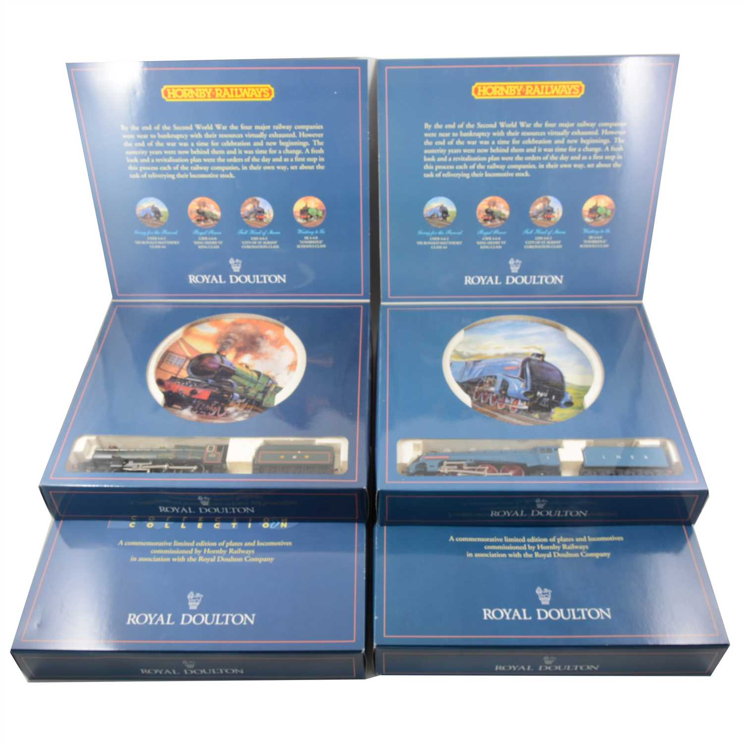 Lot 36-Hornby Railways and Royal Doulton 'Time For a Change' 50th anniversary collection; set of four OO gauge locomotives with accompanying collectors plates.