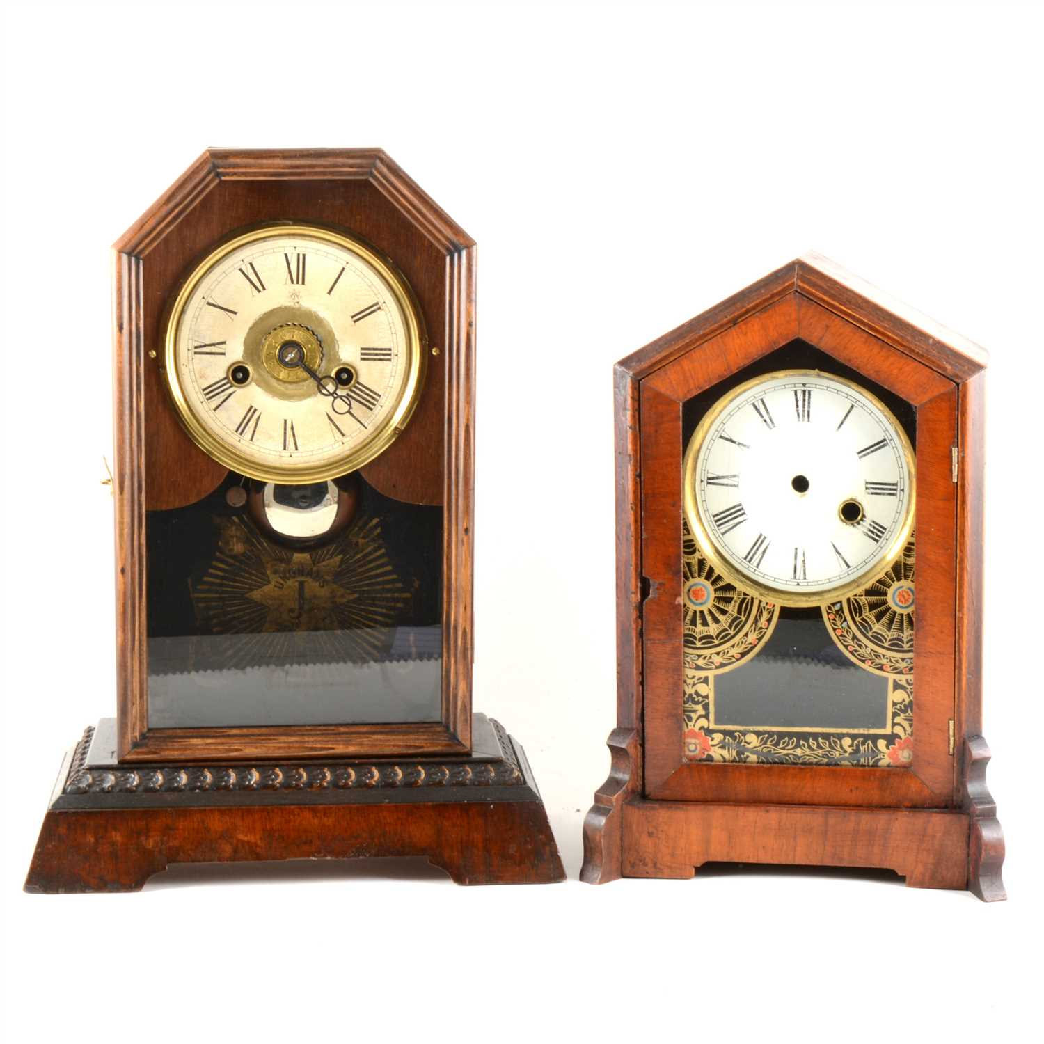 Lot 44-Two wooden shelf clocks and the Price Guide to Collectable Clocks.