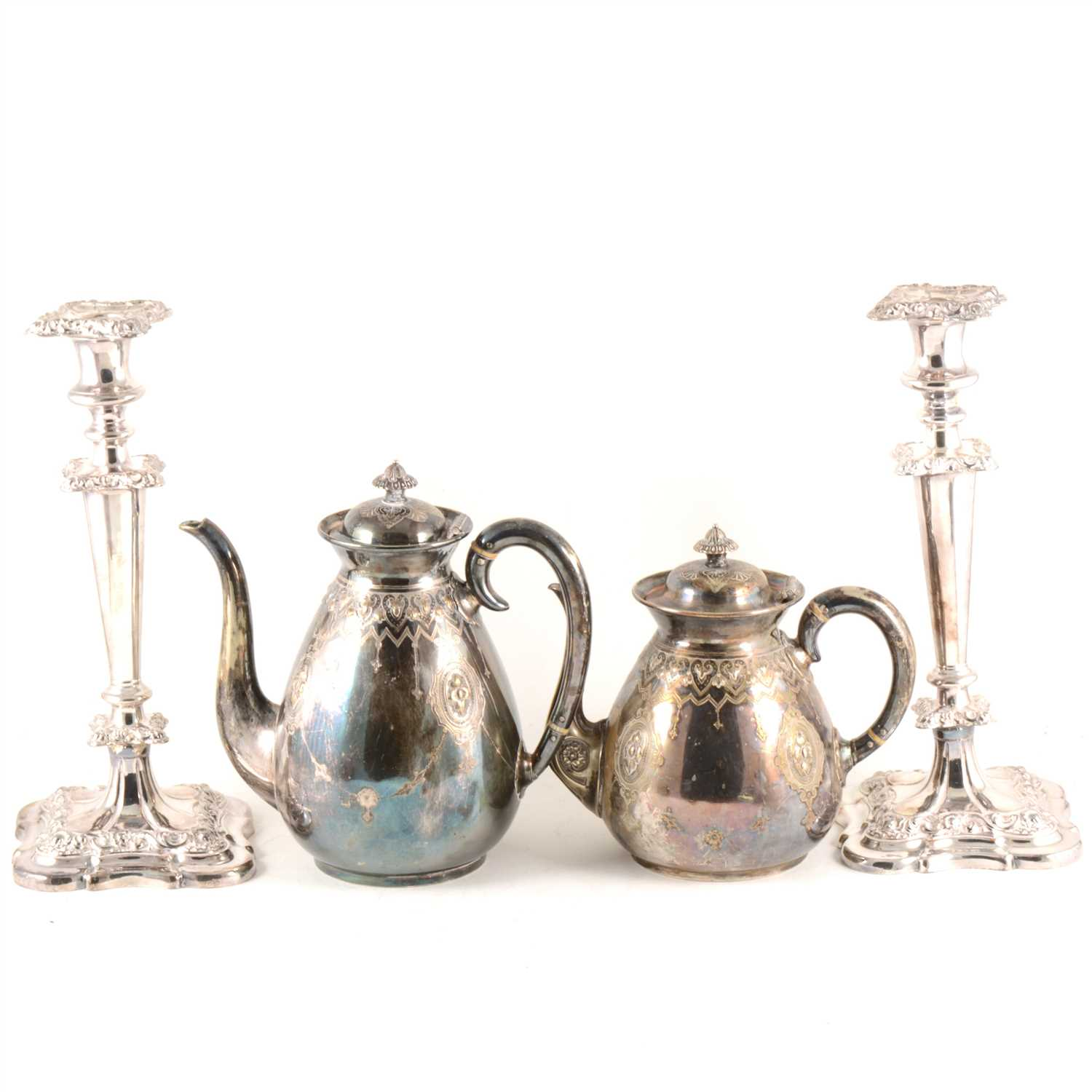 Lot 42-A pair of 31cm silver-plated candlesticks, coffee pot and teapot, cased set of fish servers with mother-of pearl handles.