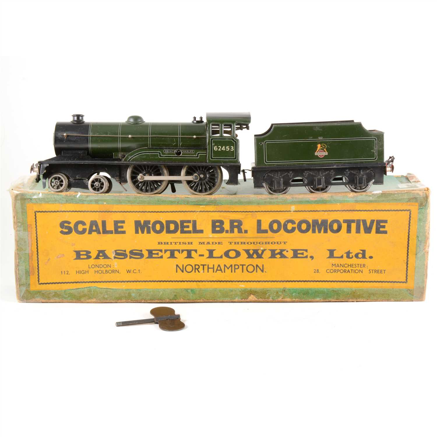 "Lot 1-Bassett-Lowke O gauge locomotive and tender, ""Prince Charles"", boxed with key."