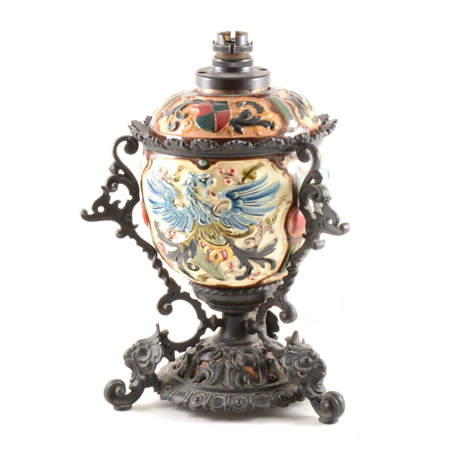 Lot 37-A majolica style centrepiece converted to a table lamp