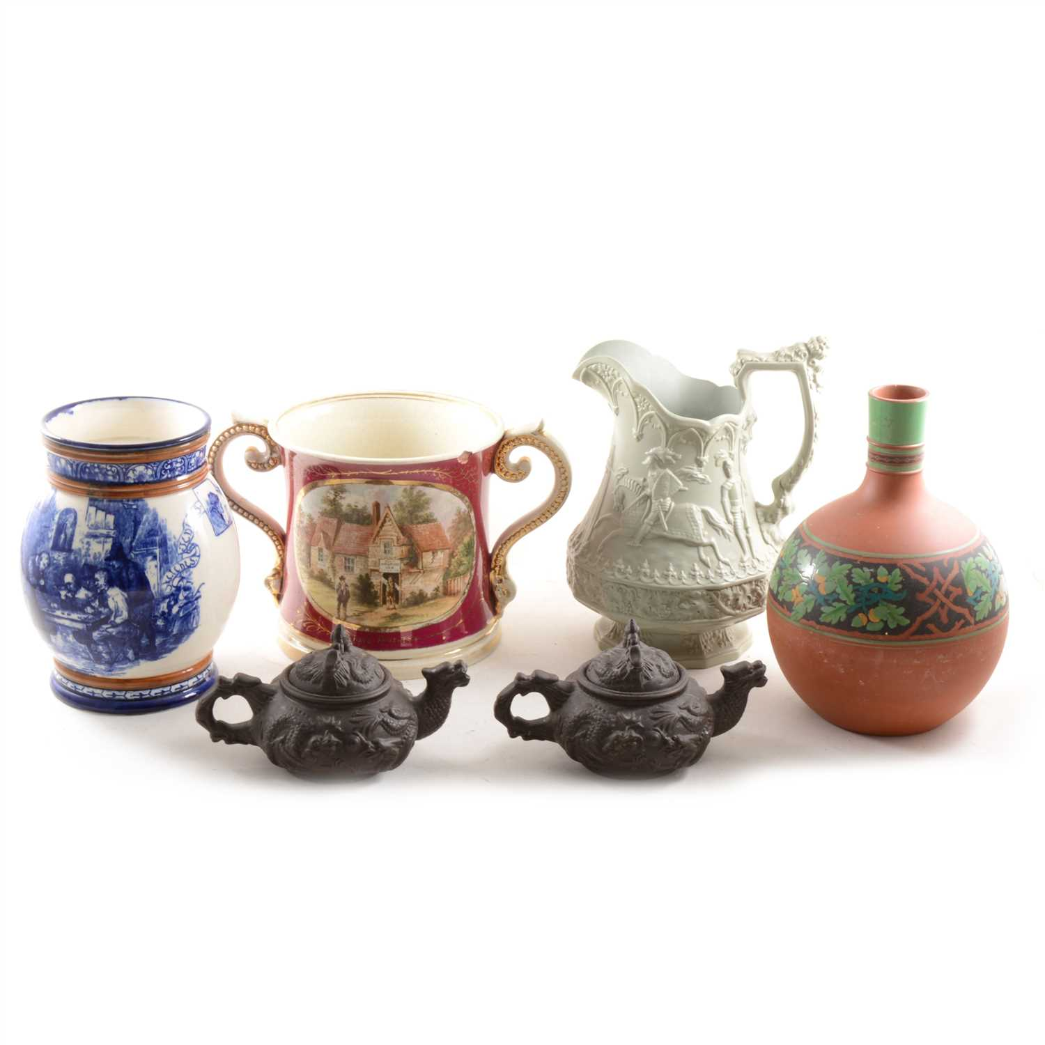 Lot 6-A Staffordshire Pottery, Loving Cup, ...