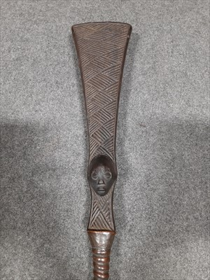 Lot 132 - African ceremonial tribal spear, copper mounted rod