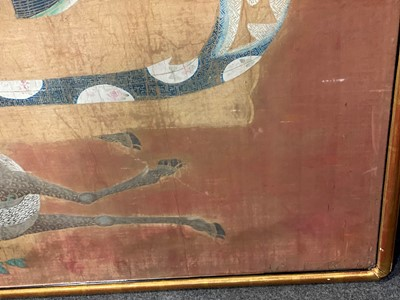 Lot 355-A large Chinese silk panel depicting Magu with flowers and deer, probably 18th century