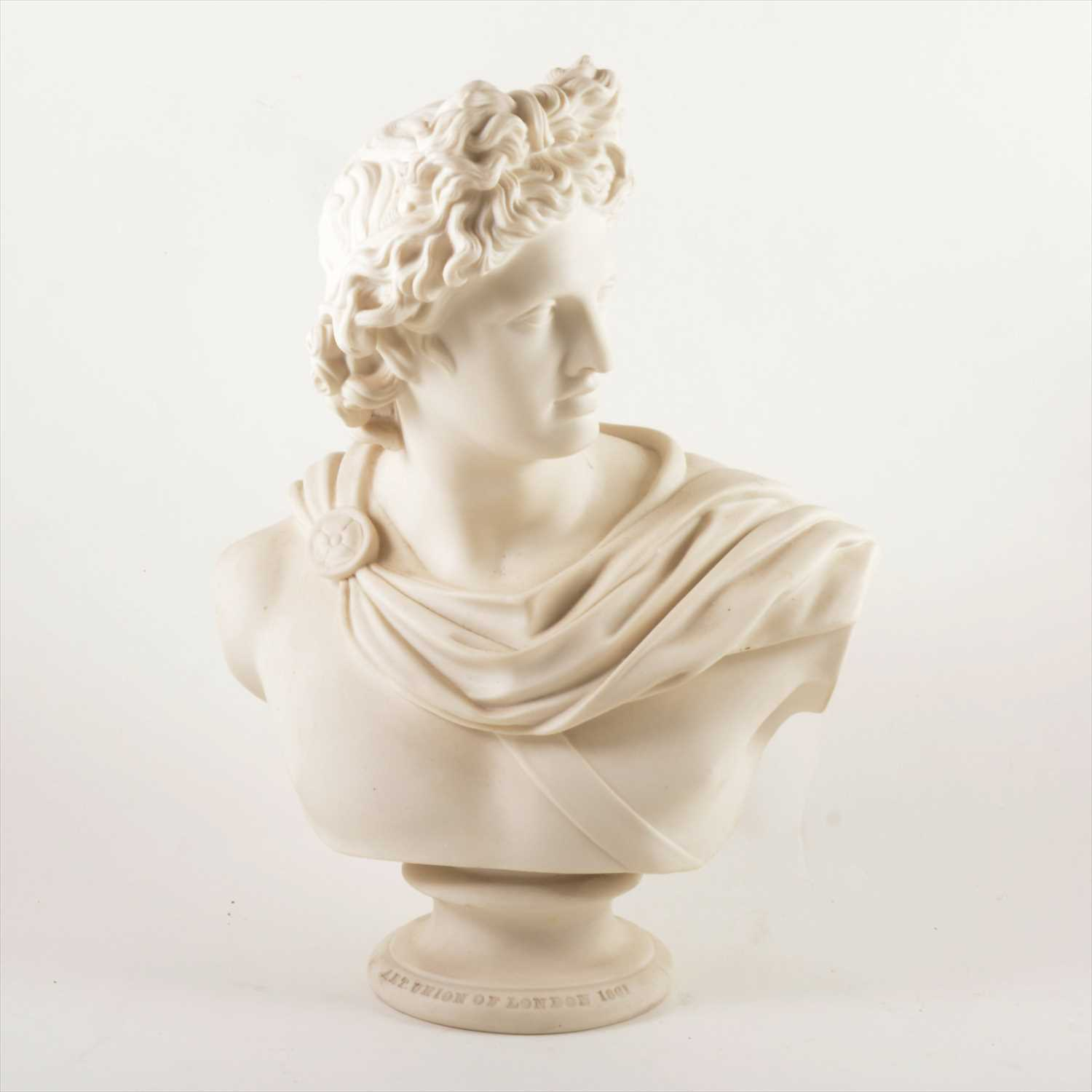 Lot 525-After C Delpech, Apollo Belvedere, a Victorian parian bust, for the Art Union of London, 1861.