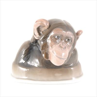 Lot 8-Rosenthal porcelain bust of a Chimpanzee, 'Homesickness', modelled by K Himmelstoss