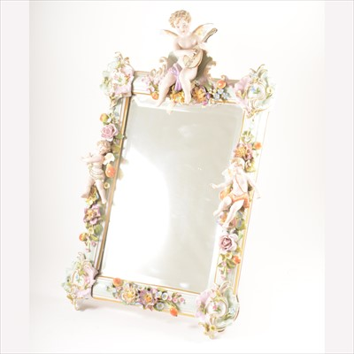 Lot 19-A Dresden porcelain faced easel mirror