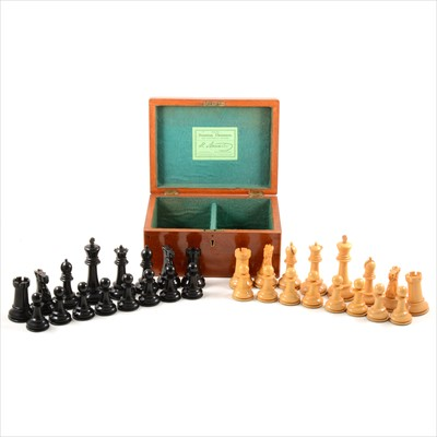 Lot 539-Victorian ebony and boxwood competition size Staunton pattern chess set, by J Jaques & Son, London