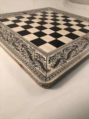 Lot 540-Anglo-Indian sandalwood and ivory folding chess board, Vizagapatam, late 19th century.